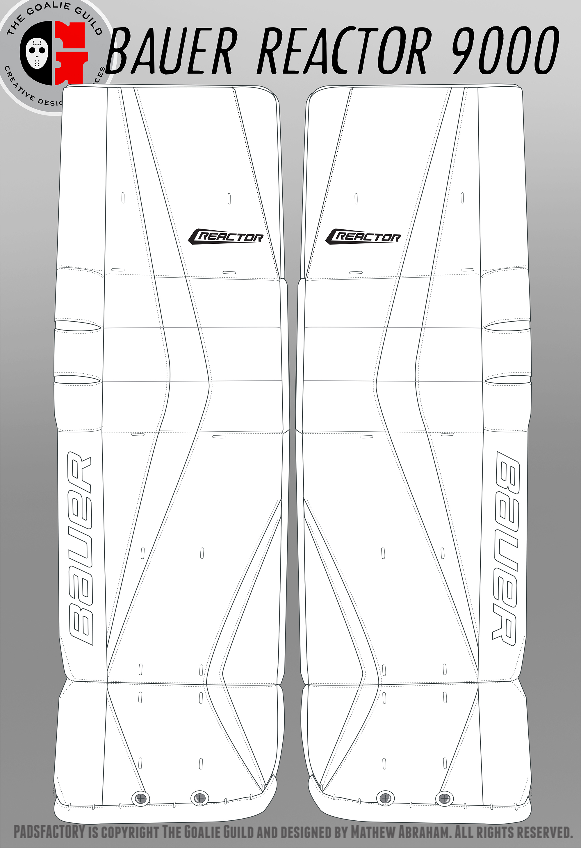 bauer goalie mask template - bauer reactor 9000 leg pads click to download the blank